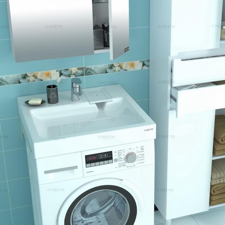 Раковина над стиральной машиной СанТа Лидер 60x50 с кронштейнами квадратная, цвет белый 900102 купить онлайн с доставкой в интернет-магазине SantPrice.ru